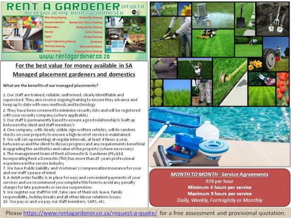 Managed placement gardeners & domestics